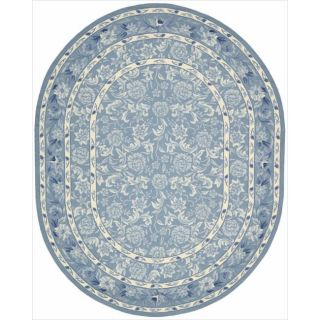 Hand hooked Blue Country Heritage Rug (76 x 96 Oval)