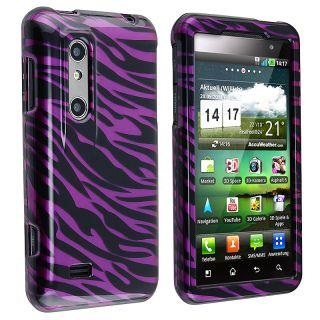 Plum/ Black Zebra Snap on Case for LG P920 Thrill 4G