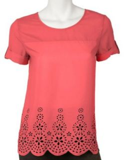 Misses AGB Laser Cut Scallop Hem Top Clothing
