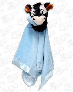 La Moo Cow Security Blanket Blue with rattle Baby
