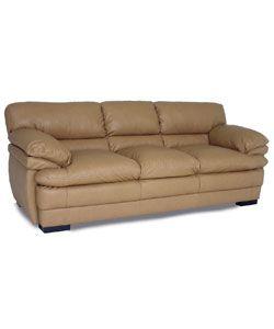 Dalton Tan Leather Sofa and Two Chairs