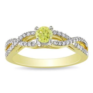 Miadora 14k Gold 5/8ct TDW Yellow and White Diamond Ring MSRP $1,998