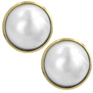 14k Gold Cultured Mabe Pearl French Clip Earrings