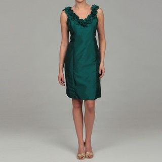 London Times Womens Pine Ruffled Shantique Sheath Dress