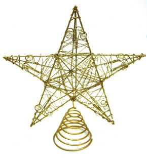 Good Tidings 5 point Goldtone Glittered Tree Topper Star