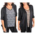 Stanzino Womens Plus Size Animal Printed Top with Attached Cardigan