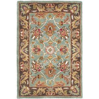 Handmade Heritage Blue/ Brown Wool Rug (2 x 3)