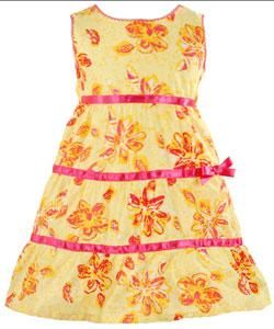 BT Kids Infant Girls Yellow Sleeveless Ruffle Dress