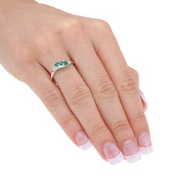 Miadora 10k Gold Created Emerald and 1/3ct TDW Diamond Ring (I J, I2