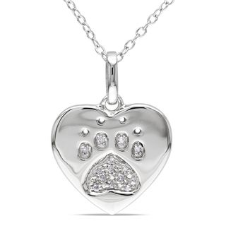 Miadora Sterling Silver Diamond Dog Lovers Necklace (H I, I2 I3