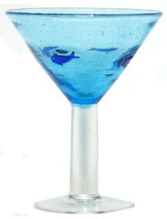 Hand Blown Glass Blue Fish Martini Glass 6.25H Set of