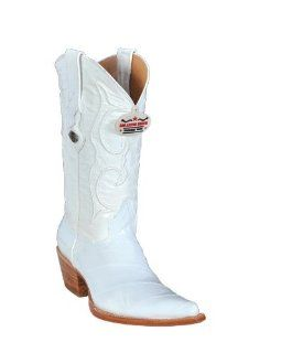 Los Altos Ladies White Eel Cowgirl Boots: Shoes