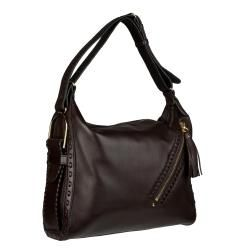 Jimmy Choo Lily Dark Brown Leather Hobo Bag