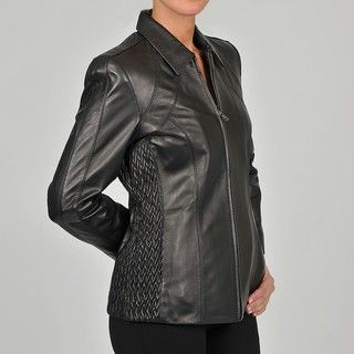 Collezione Ialia Womens Plus Size New Zealand Lambskin Leaher Scuba