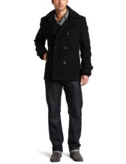 Kenneth Cole Mens Peacoat with Sweater Collar Clothing
