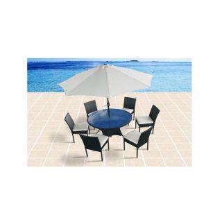 Evisa 6 : Salon de jardin en résine tressée : table ronde 135 cm de
