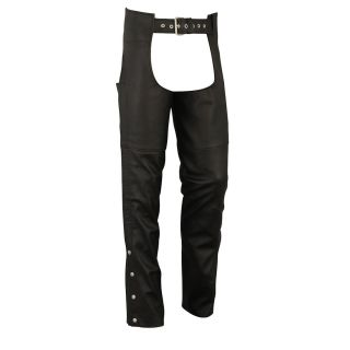 FMC Mens Big and Tall Classic Black Leather Chaps