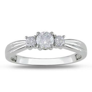 14k White Gold 1/2ct TDW Diamond Three stone Ring