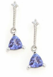 14k White Gold Tanzanite and Diamond Earrings