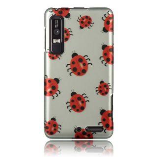 Luxmo Silver Ladybug Rubber Coated Case for Motorola Droid 3/ XT862