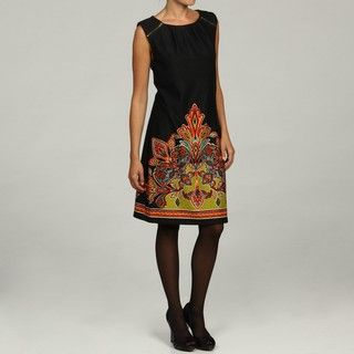 Emma & Michele Womens Black Abstract Print Dress
