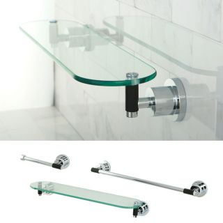 Chrome 3 piece Shelf and Towel Bar Bathroom Accessory Set