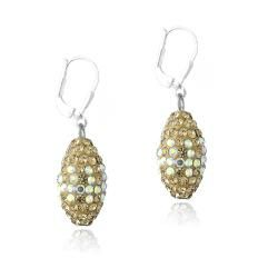 Icz Stonez Sterling Silver and Oval Crystal Fireball Leverback