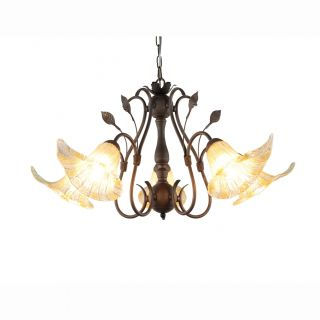 Hand blown Glass 5 light Brushed Oak Finish Chandelier