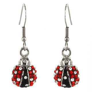 Stainless Steel Ladybug with Crystals Earrings