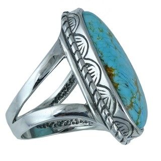 Southwest Moon Sterling Silver #8 Turquoise Freeform Ring