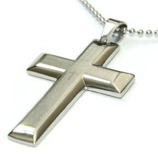 Mens Stainless Steel Necklace 2.5 inch Large Cross