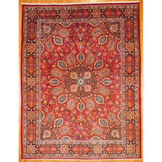 Persian Hand knotted Mashad Red/ Navy Wool Rug (97 x 126