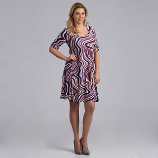 24/7 Comfort Apparel Womens Plus Size Abstract Print Dress
