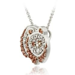 DB Designs Rose Gold over Silver Champagne Diamond Accent Panda Bear