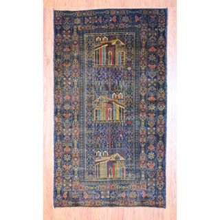 Afghan Hand knotted Tribal Balouchi Navy/ Light Brown Wool Rug (43 x