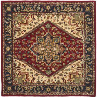 Handmade Heritage Heriz Red/ Navy Wool Rug (8 Square)