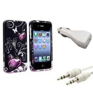 Heart Case/ Audio Cable/ White Car Charger for Apple iPhone 4/ 4S