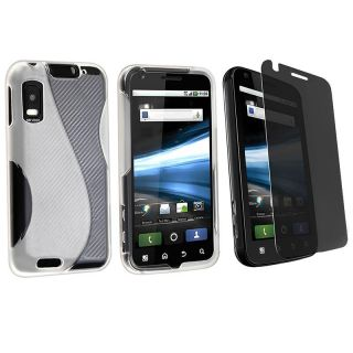 Frost White TPU Case/ Privacy Filter for Motorola Atrix 4G MB860