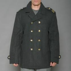 Imperious Mens Charcoal Grey Wool blend Double breasted Military