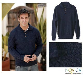 Alpaca Wool Ocean Blue Mens Sweater (Peru)