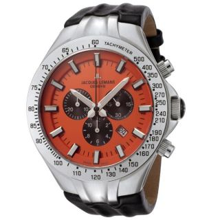 Jacques Lemans Mens Geneve/Tornado Timer Leather Chronograph Watch