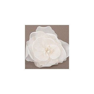 White Organza Bridal Flower Hair Pin with Swarovski Crystal and