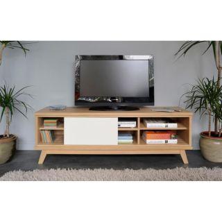 TWEENY Meuble TV 148 cm chêne et blanc laqué   Achat / Vente MEUBLE