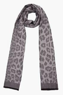 Yves Saint Laurent Charcoal Leopard Print Cashmere Misty Scarf for men