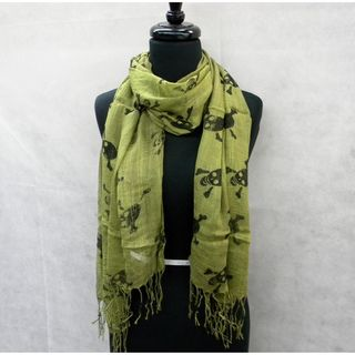 Olive Green Skull And Cross Bones Fashion Scarf