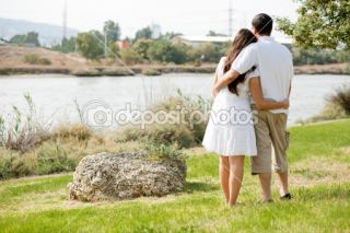Rear view couple holding each other  Stock Photo © get4net #1148535