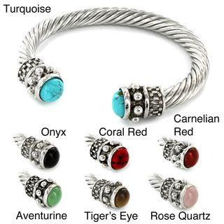 Silvertone Natural Gemstone and High polish Metal Bangle Bracelet