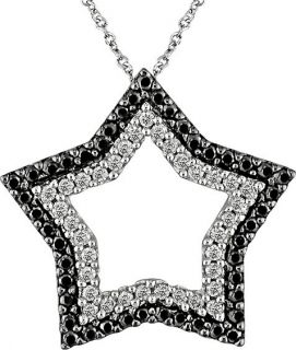 14k White Gold 1/2ct TDW Diamond Star Necklace