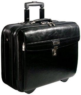 LE Sands Black Executive Genuine Leather Travel Rolling