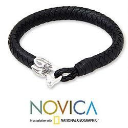 Mens Sterling Silver Brown Bali Sands Leather Bracelet (Indonesia